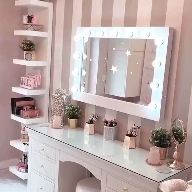 Audrey Hollywood Mirror | Illuminated Make Up Mirror With lights around it -   14 makeup Vanity goals ideas