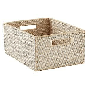 Large Rattan Bin Whitewash 11 1 4 X 15 X 7 H 29 99 For Bottom Shelves For Large Art Supplie With Images Storage Bins Wicker Baskets Storage Fabric Storage Bins