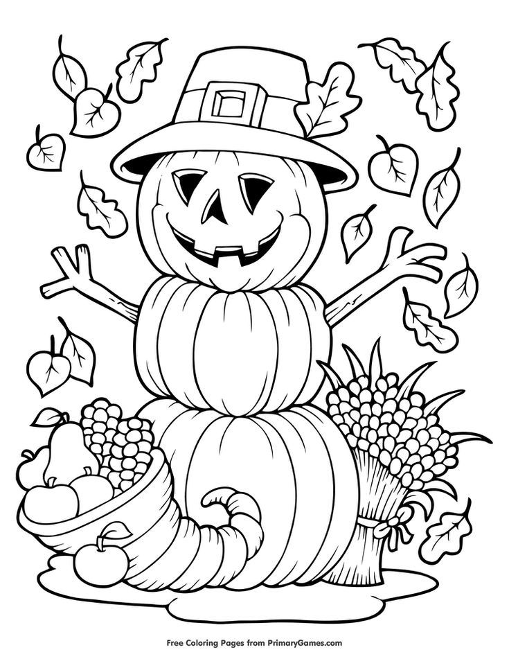 Free Autumn and Fall Coloring Pages Thanksgiving