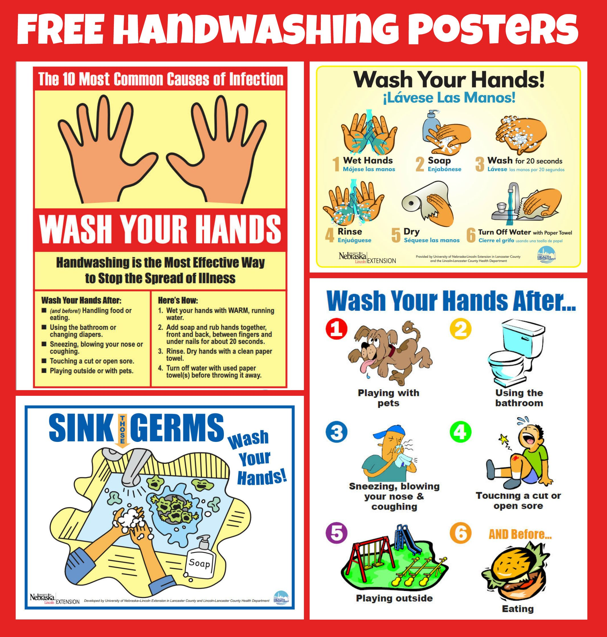 Handwashing Hand Washing Poster School Nurse Office Nurse Office