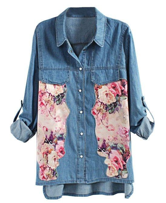 Floral Print Splicing Denim Blouse - Clothing
