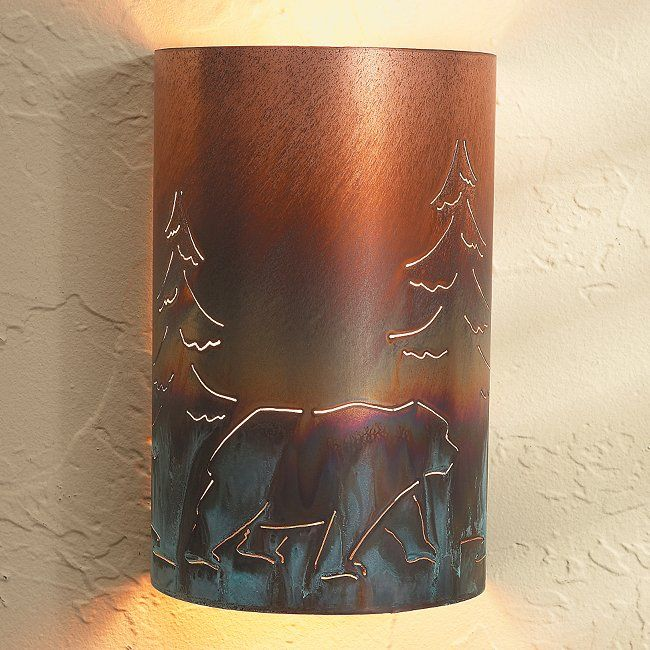 Home Theater Wall Sconces: Rustic Wall Sconces: Copper Bear Sconce
