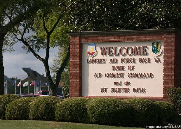Where is Langley Air Force Base located in Virginia?