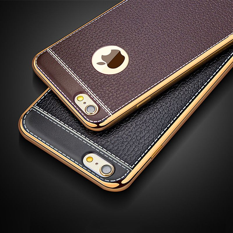 Luxury Retro Leather Pattern Soft TPU Silicone Phone Case For iPhone 5 5S  SE 6 6S Plus Ultra Thin Plating Gold Frame Back Covers b7539952fc