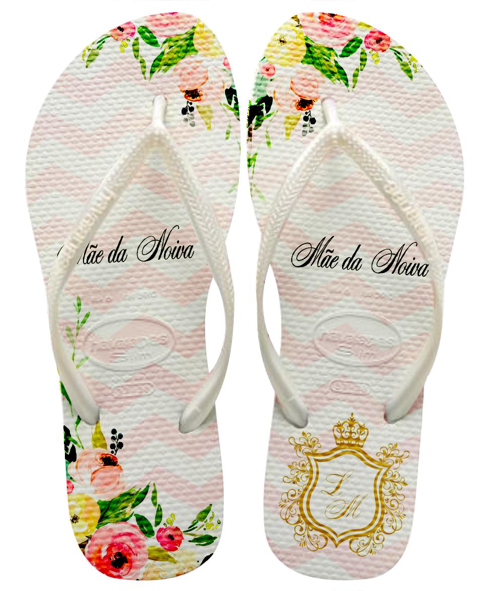137bacc0cdc5a9 Chinelo havaianas Slin Personalizado casamento Flores ...