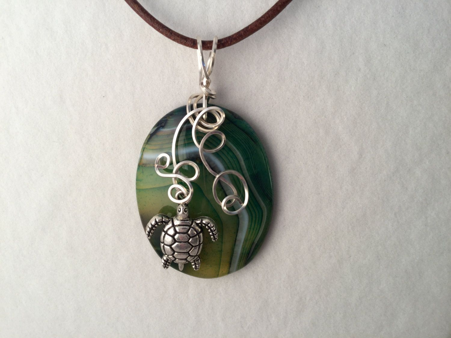 Green Striped Oval Agate Silver Wire Wrapped Necklace with a Turtle ...