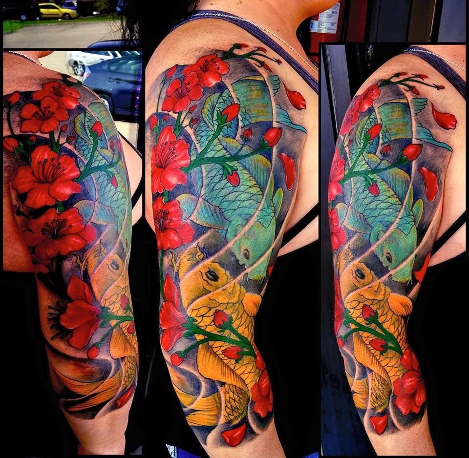 Oriental tattoo Finished color two koi fishes | Tattoo | Pinterest ...