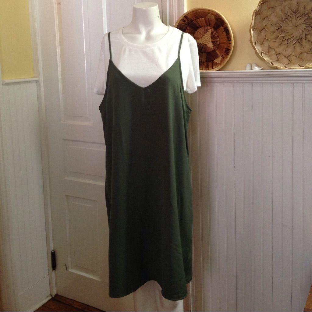 Plus size olive green u white dress size xxl products