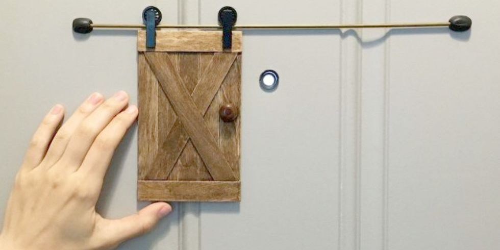 How To Make A Tiny Sliding Barn Door For Your Peephole Mini Barn Diy Home Security Diy Security