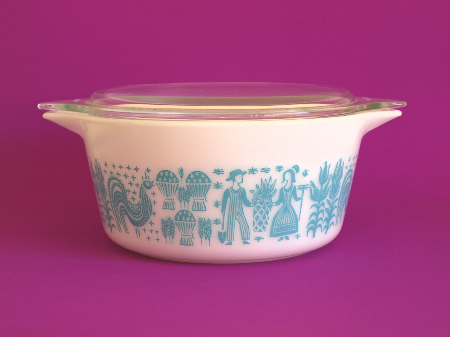 pyrex butterprint 474 casserole dish with glass lid