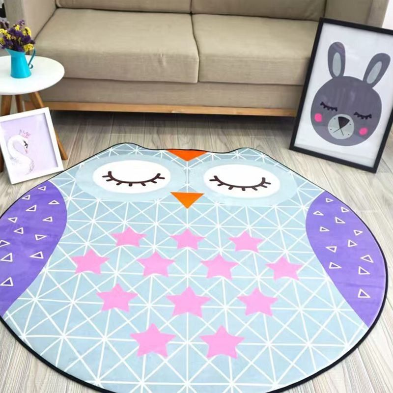 Diameter 1 5m Flannel Cartoon Irregular Animal Shapes Carpet Owl Donuts Bedside Pad Baby Crawling