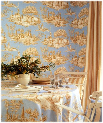 Decorating Ideas Toile Fabric: Wallpaper And Fabric In Light Blue And Golden Brown Toile
