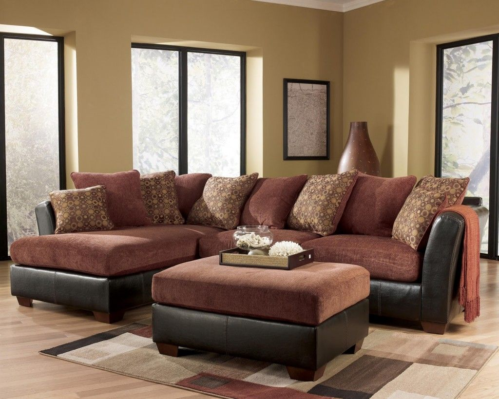 Alenya Ashley Furniture Sectional Sofa Prices Quartz Collection Tan Darcy Salsa Contemporary With Sweeping Pillow