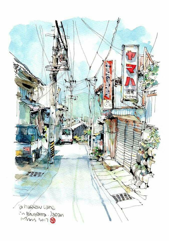Street In Japan Watercolour Painting Drawing Landscape Drawings