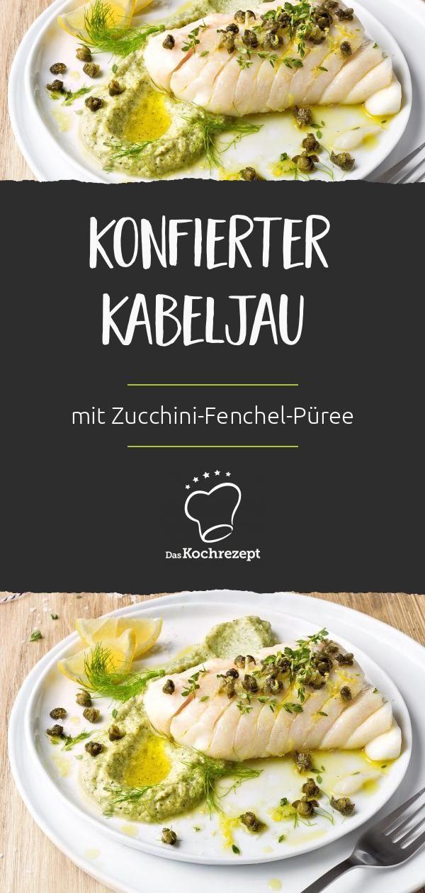 Konfierter Kabeljau mit Zucchini-Fenchel-Püree Sommer für den Gaumen: konfierter Kabeljau mit würzigem Zucchini-Fenchel-Püree. Für die perfekte Cremigkeit im Püree sorgt zarter Ricotta, frittierte Kapern liefern den krossen Biss.