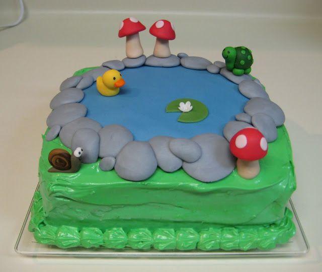 Pond Birthday Cake With Animals Mushrooms Duck Snail Turtle