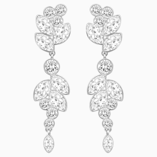 Diapason Pierced Earrings, White, Rhodium plated by SWAROVSKI
