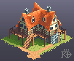 Isometric Pixel Art Inn House By Rgbfumes Bitmap Architecture Game