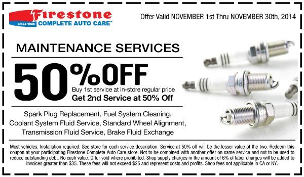 Firestone 50 Off Maintenance Services Coupon November 2014