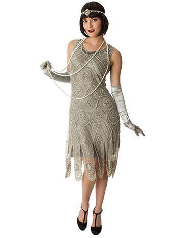 1920s Formal Dresses Guide 1920s Replica Silver Beaded Sequin Sheba Flapper  Dress  295.00 AT vintagedancer.com 4653e1ae2