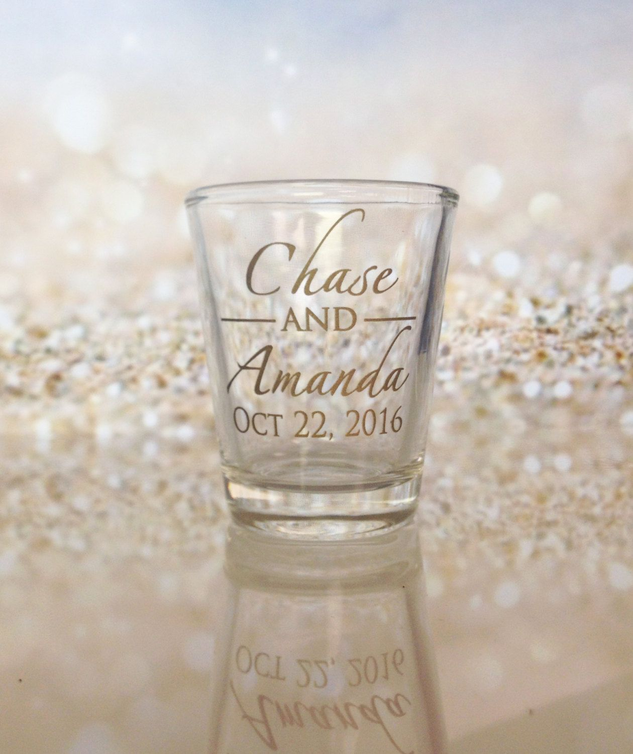 Wedding Favors Shot Glasses Custom Names Monogram Design ...