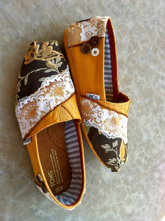 Adding fabric to your Toms when they get old  LOVE IT Amy!!