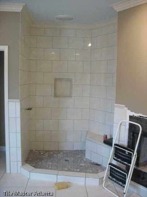 Shower Tile To Ceiling And With Crown Trim All Around Shower Tile Master Shower Tile Bathroom Redo