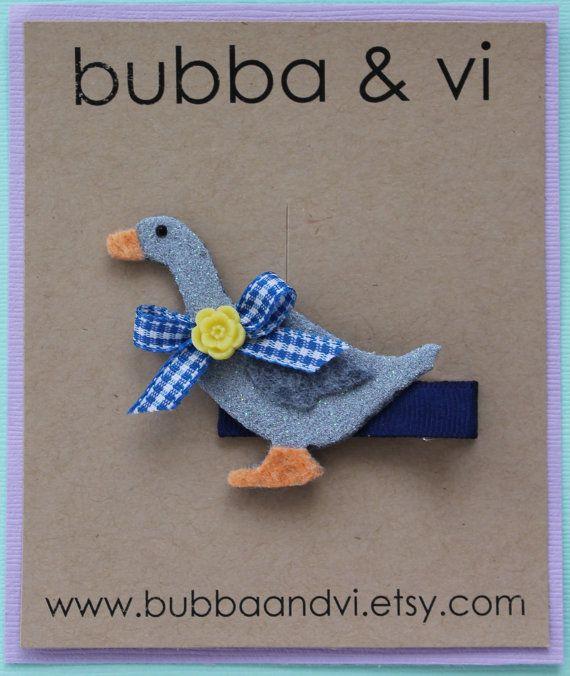 Goose Hair Clip  Glitter Goose Hair Clip by bubbaandvi on Etsy, $15.00