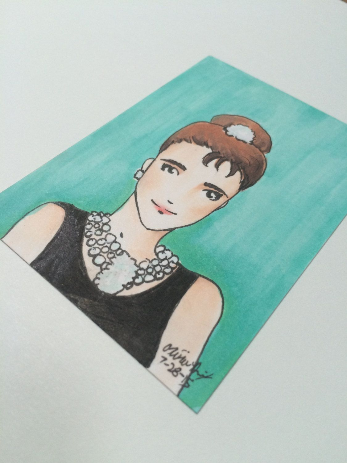 Audrey Hepburn \'Breakfast at Tiffany\'s\' ACEO Card Copic Marker Art ...