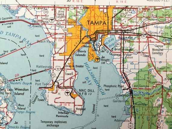 Antique Tampa, Florida 1956 US Geological Survey Topographic ...
