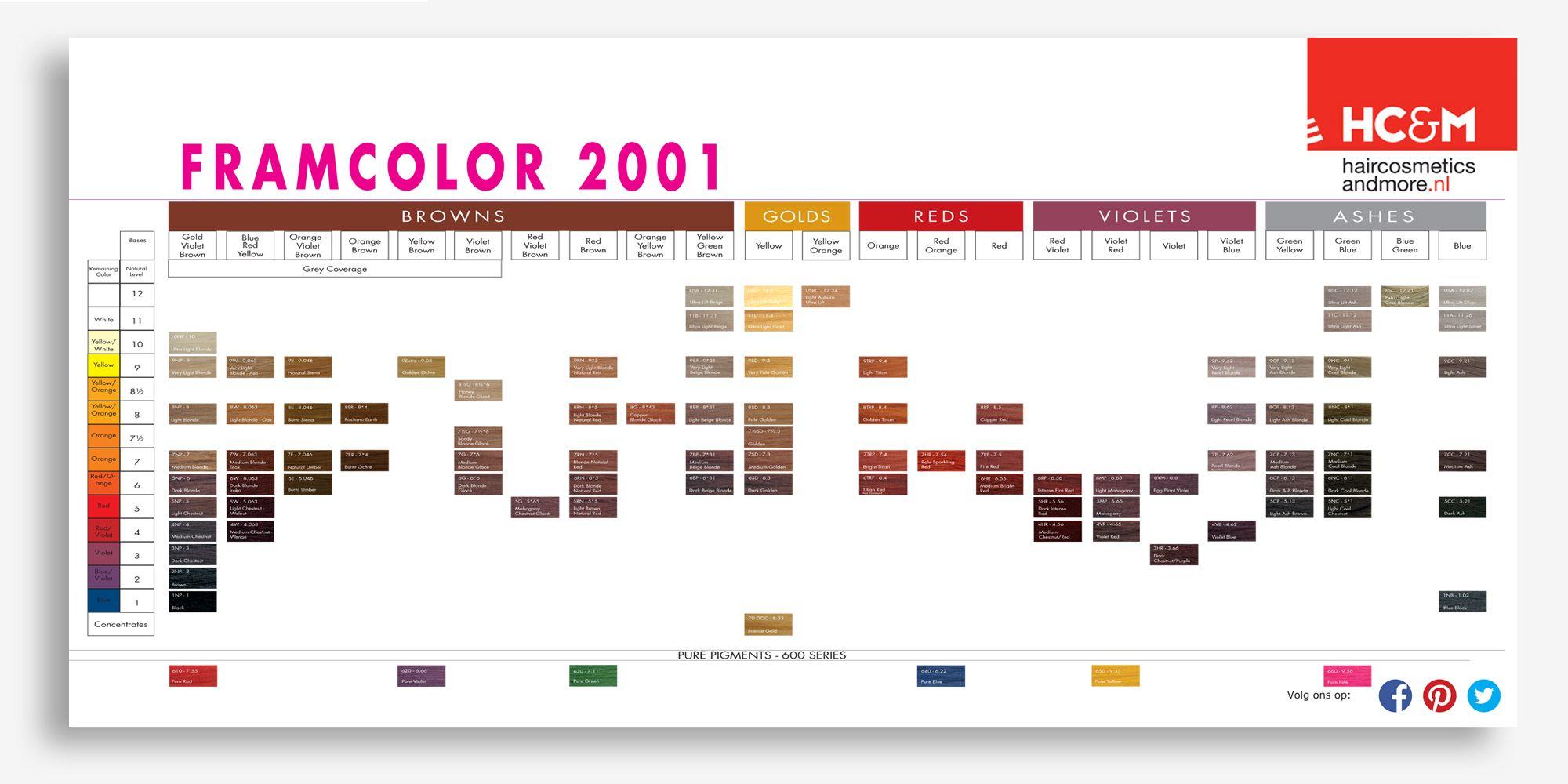 Hc M Framcolor 2001 Color Chart Preview Color Chart Chart Color