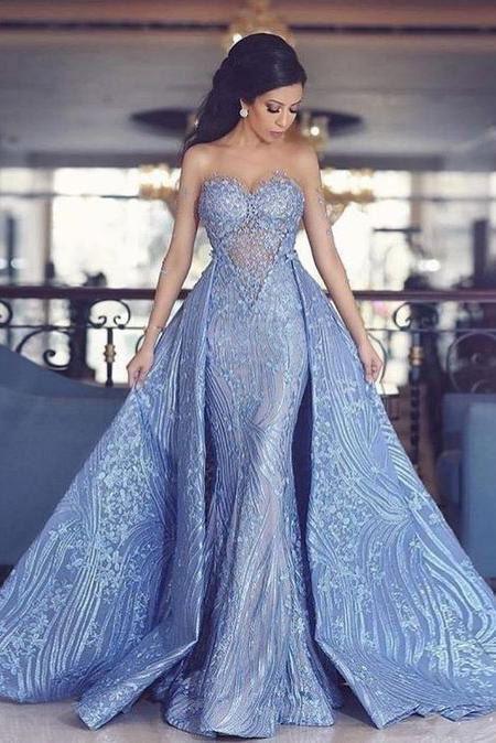 Elegantes Schatz-Nixe-Abschlussball-Kleid mit abnehmbarem Zug, Art- und Weiseblaue Abendkleider AD06   – Slit dress prom
