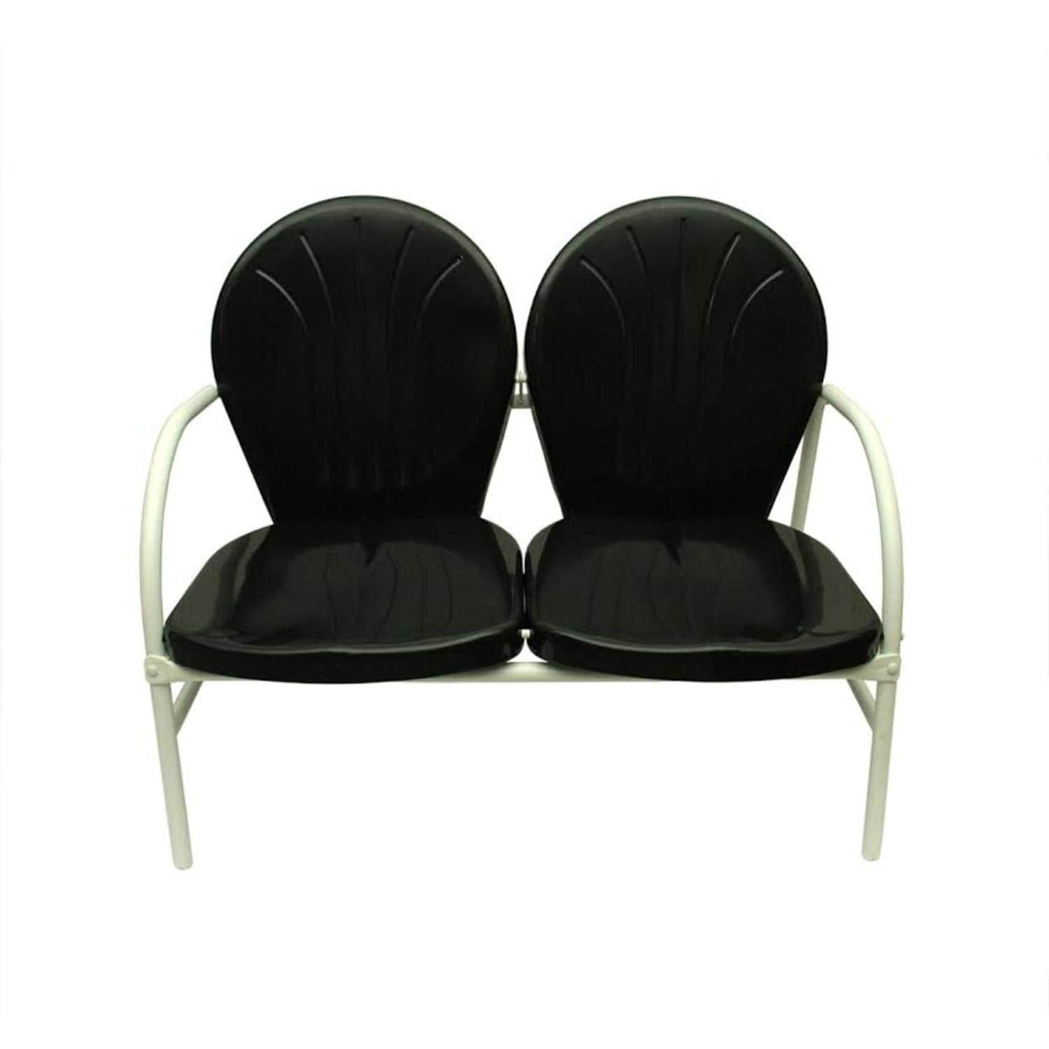 Genial Black And White Retro Metal Tulip 2 Seat Double Chair, Patio Furniture  (Steel