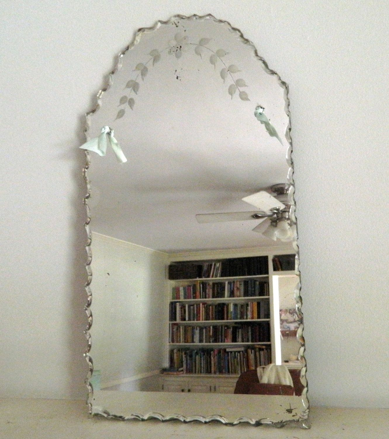 Vintage Etched Beveled Mirror Frameless Etched Mirror