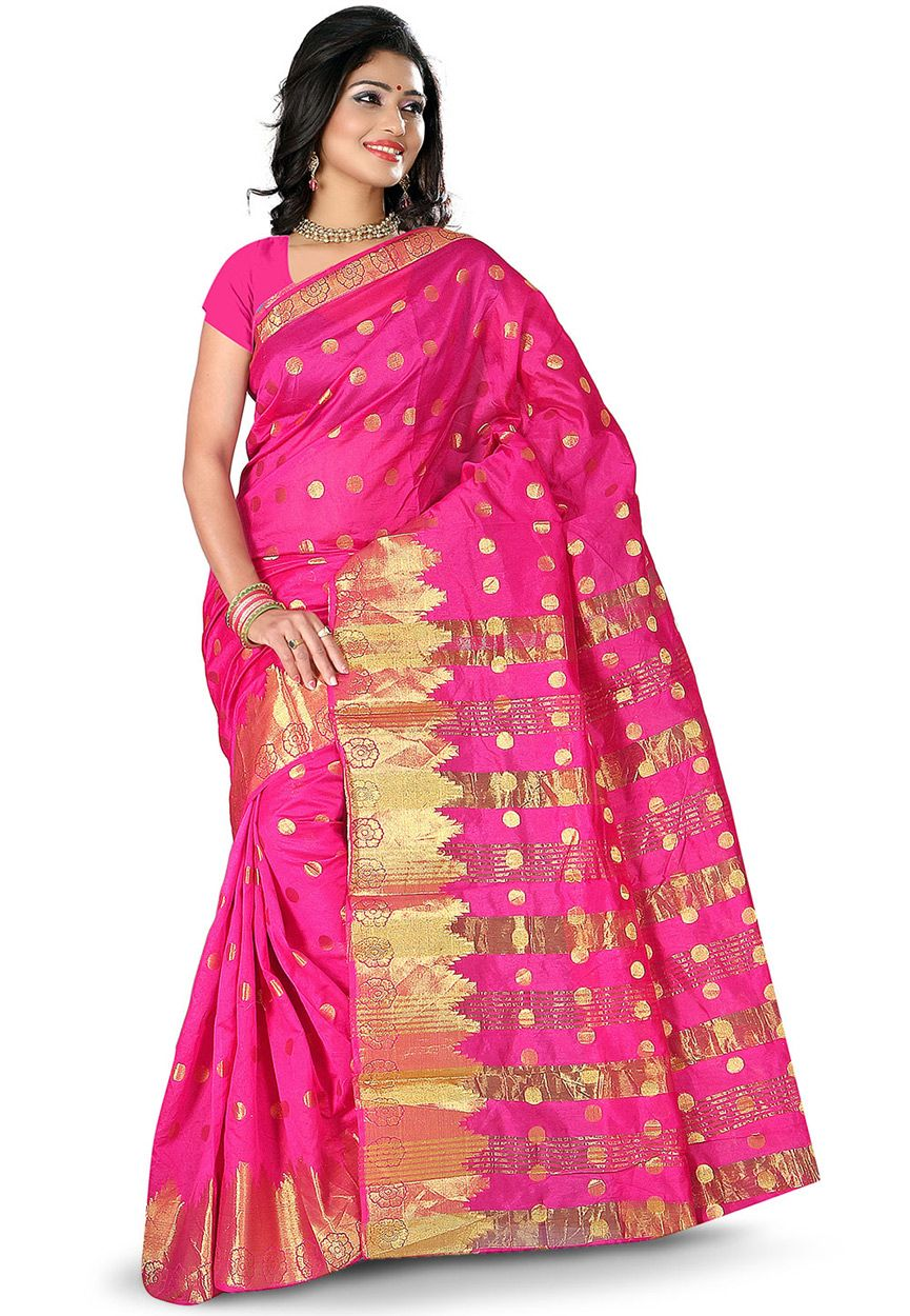 Buy Woven Art Silk Saree in Fuchsia online, work: Woven, color: Fuschia, usage: Festival, category: Sarees, fabric: Art Silk, price: $25.00, item code: SSGA189, gender: women, brand: Utsav