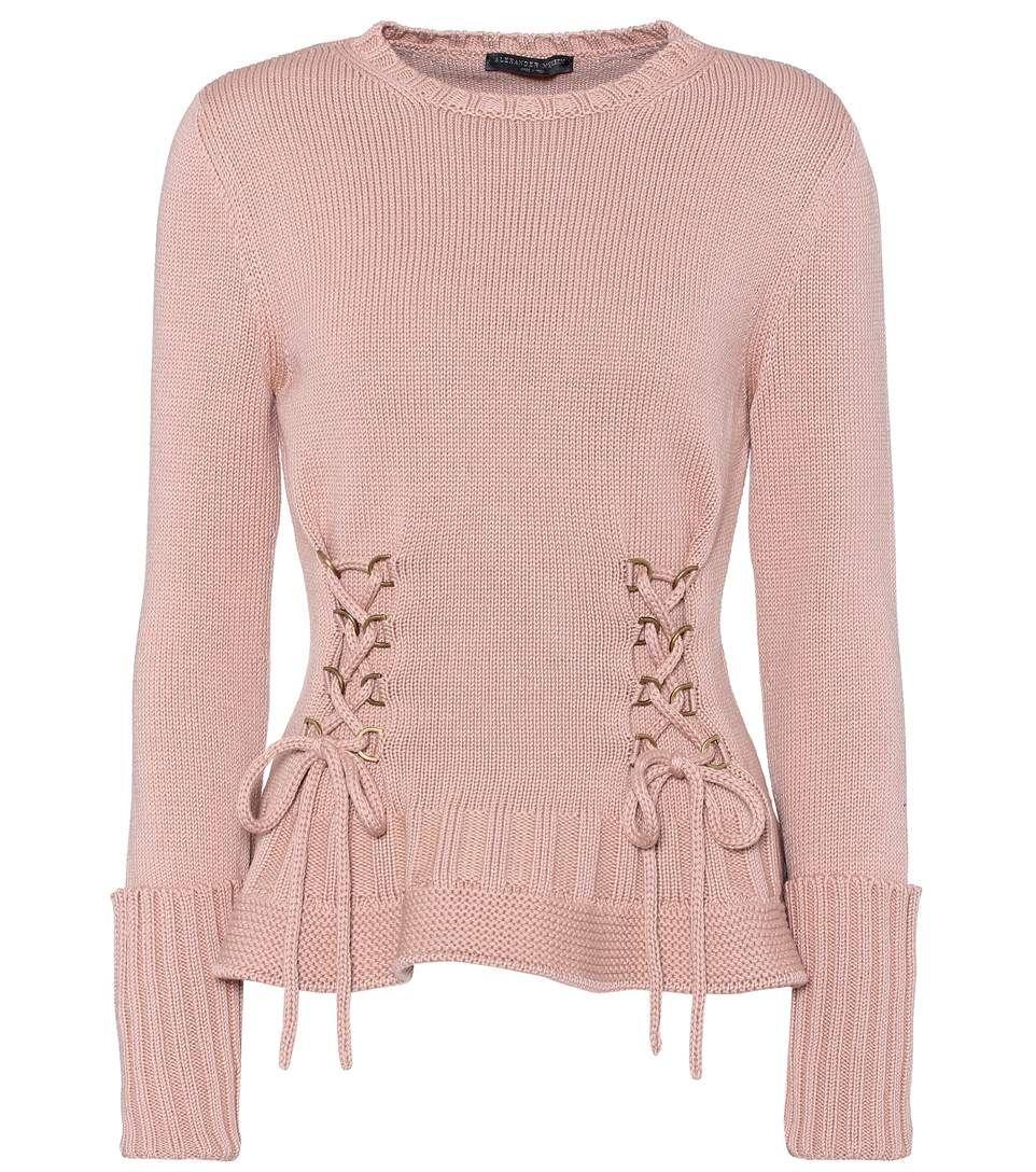 Pullover rosa in lana con lacci