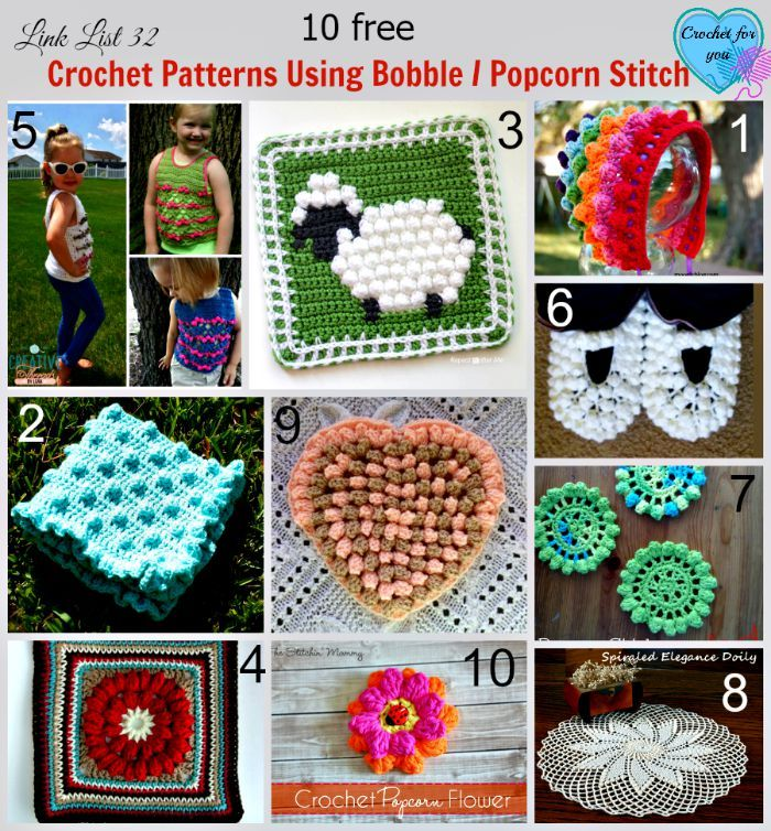 10 Free Crochet Patterns Using Bobble / Popcorn Stitch | Crochet ...