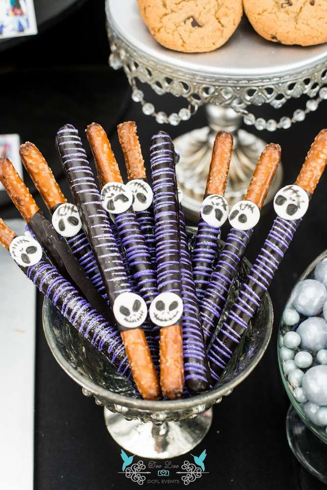 Delightful Nightmare Before Christmas Birthday Party Ideas Part - 2: Glittery Pretzels At A Nightmare Before Christmas Birthday Party! See More  Party Planning Ideas At