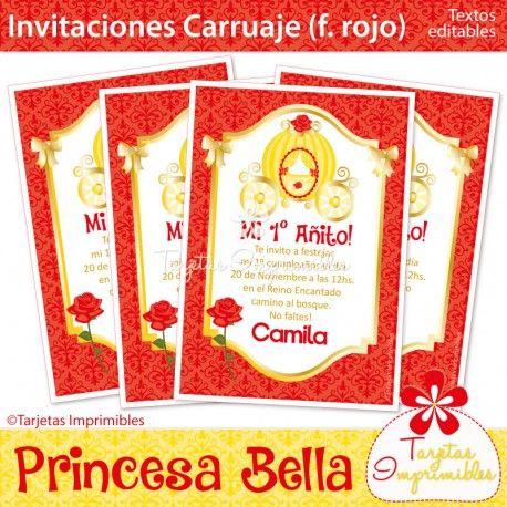 Princesa Bella Invitaciones carruaje (f. rojo)