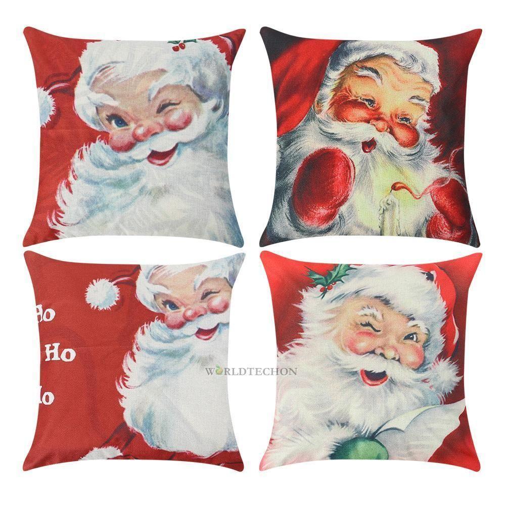 Christmas Pillow Santa Claus Cushion Cover Throw Pillow Case Xmas Home Decor
