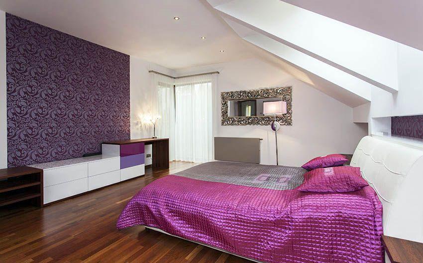 Accent Wall Ideas Interior Designs Purple Bedrooms Feature Wall Bedroom Attic Bedroom Designs