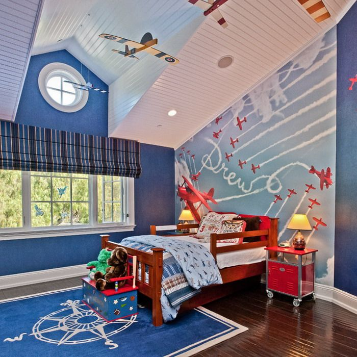 Kids Room Blue Theme Decoration For Boys Bedroom That Decorating With Plane Miniaature And Wall Murals Put Our Safety Beyond Others