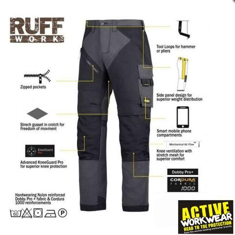 Snickers RuffWork Heavy Duty Work Trousers with Knee Pad Pockets 6303