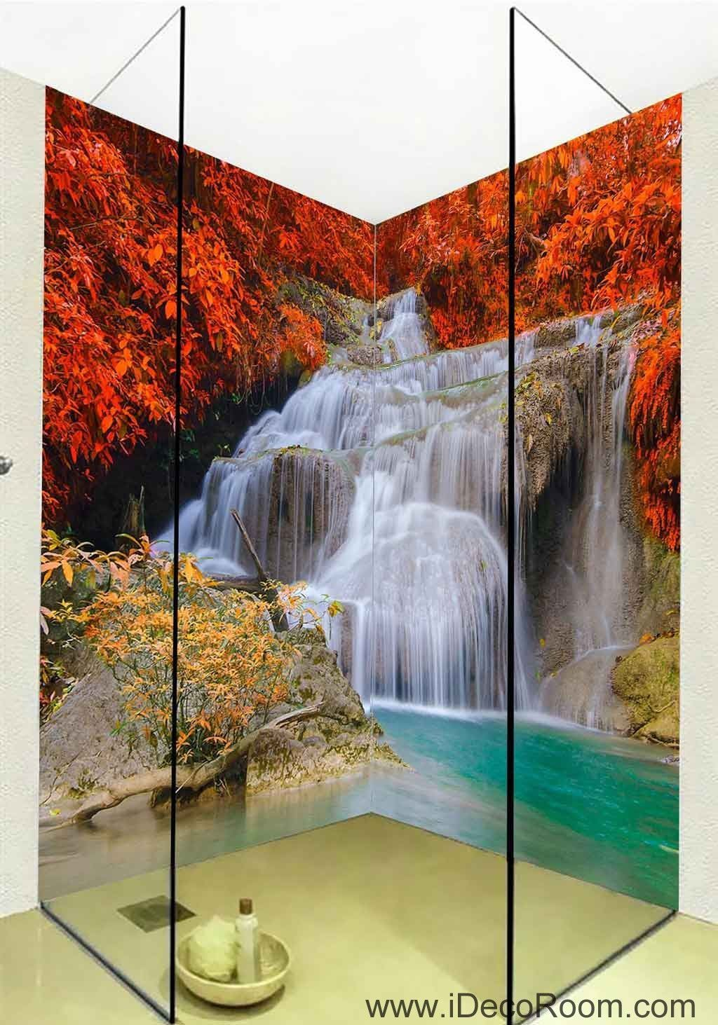 3D Wallpaper Red Leaves Waterfall Wall Murals Bathroom Decals Wall Art  Print Home Office Decor