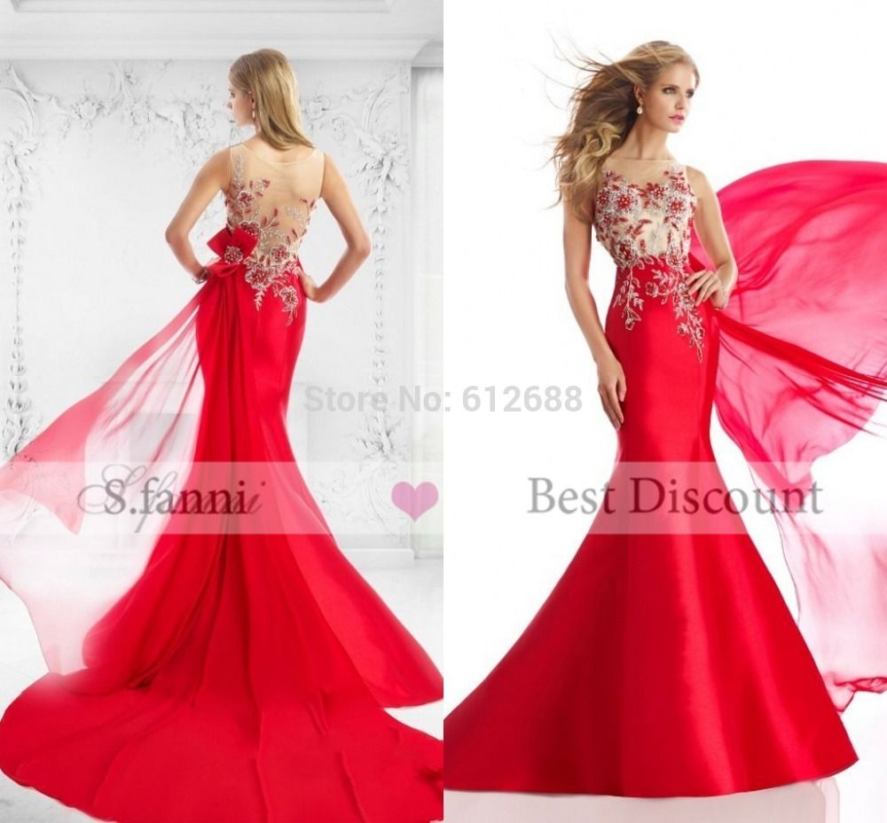 Click to buy ucuc glamorous beading abendkleider vestidos see through