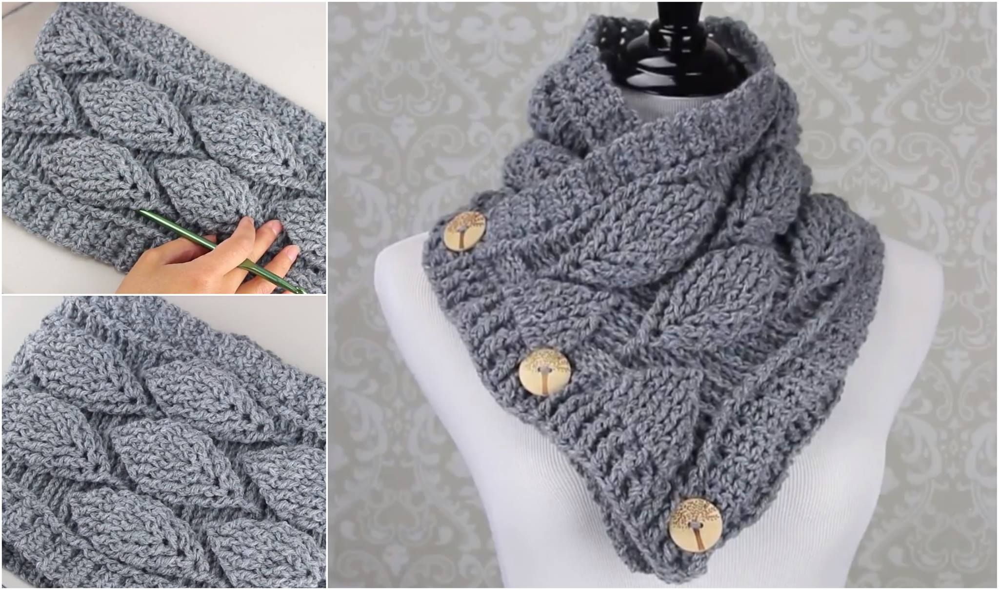 Crochet Leaf Stitch Cowl Free Pattern | Knitting | Pinterest ...