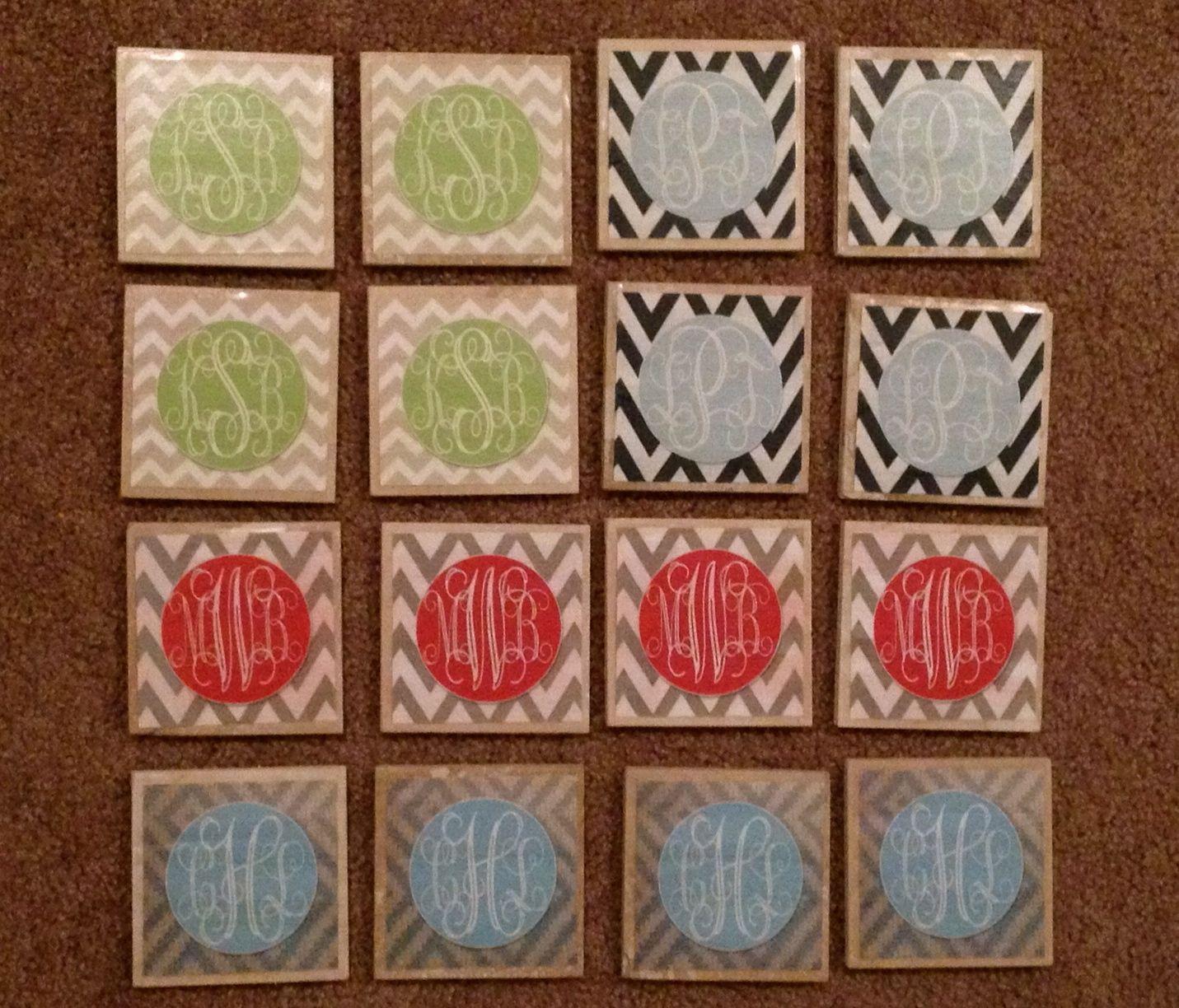 Chevron monogrammed coasters