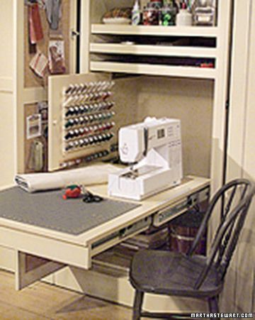 Sewing Room In A Closet Sewing Closet Small Craft Rooms