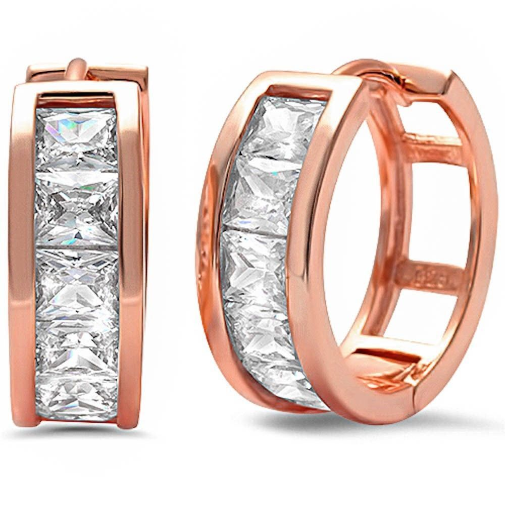 15mm Huggies Hoop Earrings Rose Gold Solid 925 Sterling Silver Hoop Invisible Princess Cut Square Clear CZ Hoop Huggies Earrings Kids Gift