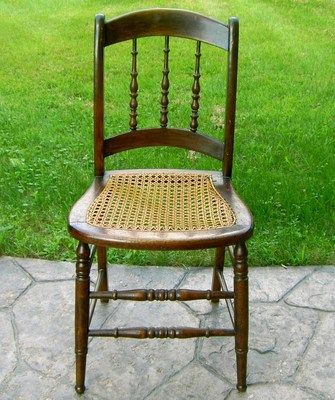 Antique Walnut Stained SPINDLE Back Oak Chair with Cane Seat  circa 1880
